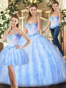 Beading and Ruffles Sweet 16 Dresses Lavender Lace Up Sleeveless Floor Length