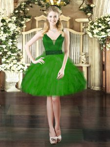 Tulle V-neck Sleeveless Lace Up Beading and Ruffles Prom Party Dress in Green
