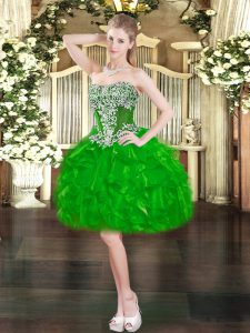 Admirable Green Prom and Party with Beading and Ruffles Sweetheart Sleeveless Lace Up
