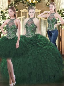Dark Green Three Pieces High-neck Sleeveless Organza Floor Length Lace Up Beading and Ruffles Quinceanera Gown