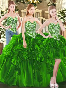 Customized Dark Green Sleeveless Floor Length Beading and Ruffles Lace Up Ball Gown Prom Dress