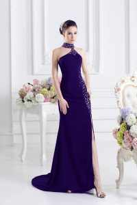 Flare Purple Halter Top Neckline Beading Dress for Prom Sleeveless Lace Up