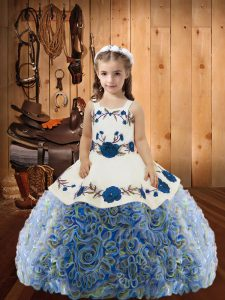 Sleeveless Fabric With Rolling Flowers Floor Length Lace Up Pageant Dress in Multi-color with Embroidery and Ruffles