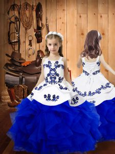 Sleeveless Floor Length Embroidery and Ruffles Lace Up Girls Pageant Dresses with Royal Blue