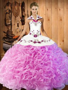 Rose Pink Ball Gowns Embroidery Sweet 16 Dress Lace Up Fabric With Rolling Flowers Sleeveless Floor Length