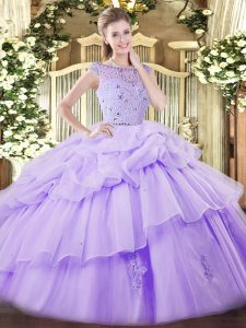 Stylish Lavender Sleeveless Floor Length Beading and Ruffles and Pick Ups Zipper Vestidos de Quinceanera