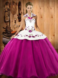 Dazzling Halter Top Sleeveless Lace Up Ball Gown Prom Dress Fuchsia Satin and Tulle