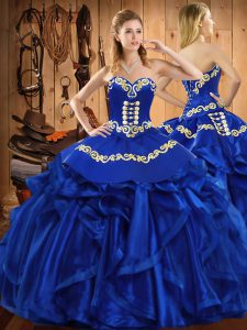 Comfortable Satin and Organza Sleeveless Floor Length Quince Ball Gowns and Embroidery and Ruffles