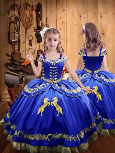 Off The Shoulder Sleeveless Satin Little Girls Pageant Dress Wholesale Beading and Embroidery Lace Up