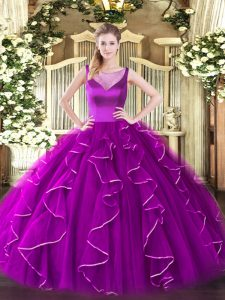 Exquisite Scoop Sleeveless Side Zipper Sweet 16 Dresses Fuchsia Organza