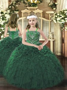 High Quality Straps Sleeveless Organza Pageant Dress Beading and Ruffles Lace Up