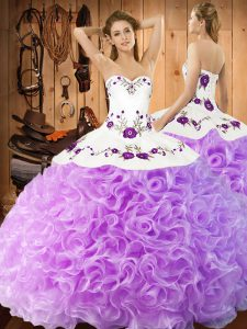 Lilac Ball Gowns Halter Top Sleeveless Fabric With Rolling Flowers Floor Length Lace Up Embroidery Quinceanera Dresses