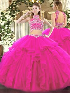 High-neck Sleeveless Tulle Quinceanera Dresses Beading and Ruffles Backless