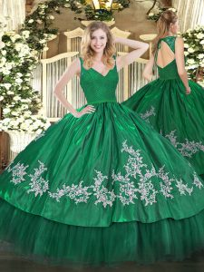 Fantastic Dark Green Sleeveless Floor Length Beading and Appliques Zipper Quinceanera Gown
