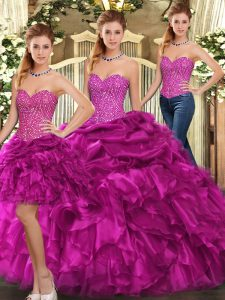 Fuchsia Organza Lace Up Quinceanera Gown Sleeveless Floor Length Beading and Ruffles