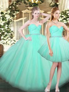 Fantastic Aqua Blue Sweetheart Neckline Ruching Sweet 16 Dress Sleeveless Lace Up