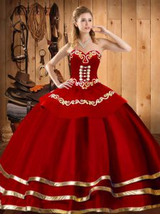 Top Selling Wine Red Organza Lace Up Sweet 16 Dress Sleeveless Floor Length Embroidery