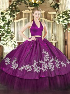 Fuchsia Sleeveless Taffeta Zipper Quince Ball Gowns for Military Ball and Sweet 16 and Quinceanera