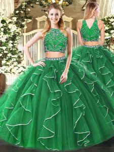Green Two Pieces High-neck Sleeveless Tulle Floor Length Zipper Beading and Ruffles Sweet 16 Dress