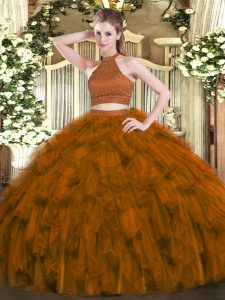 Brown Sleeveless Beading and Ruffles Floor Length Quince Ball Gowns