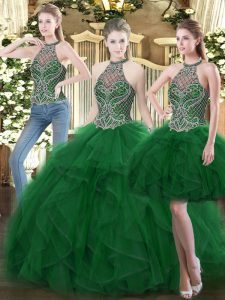 Superior Sleeveless Lace Up Floor Length Beading and Ruffles 15 Quinceanera Dress