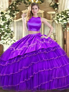 Fantastic Purple Tulle Criss Cross High-neck Sleeveless Floor Length 15 Quinceanera Dress Embroidery and Ruffled Layers