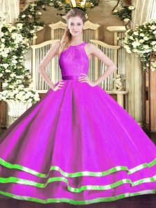Tulle Sleeveless Floor Length Sweet 16 Dresses and Lace