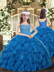 Organza Straps Sleeveless Lace Up Beading and Ruffles Winning Pageant Gowns in Blue
