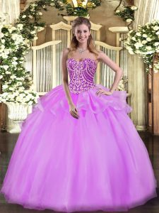 Most Popular Floor Length Lace Up Sweet 16 Dress Lilac for Military Ball and Sweet 16 and Quinceanera with Beading and Ruffles