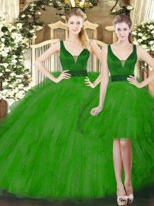 Sleeveless Floor Length Beading and Ruffles Lace Up Sweet 16 Quinceanera Dress with Green
