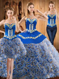 Great With Train Three Pieces Sleeveless Multi-color Sweet 16 Quinceanera Dress Sweep Train Lace Up