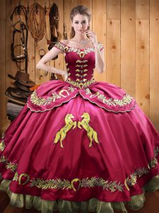 New Arrival Hot Pink Ball Gowns Satin and Organza Off The Shoulder Sleeveless Beading and Embroidery Floor Length Lace Up Quinceanera Dress