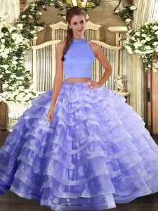 Lavender Halter Top Backless Beading and Ruffled Layers Quinceanera Gowns Sleeveless