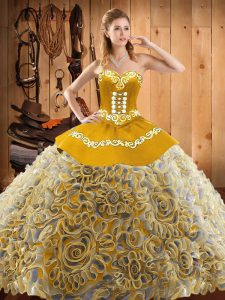 Extravagant Multi-color Sleeveless Sweep Train Embroidery With Train Quinceanera Dress