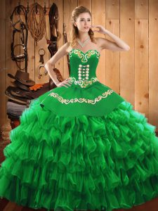 Fantastic Sweetheart Sleeveless Sweet 16 Dress Floor Length Embroidery and Ruffled Layers Green Satin and Organza