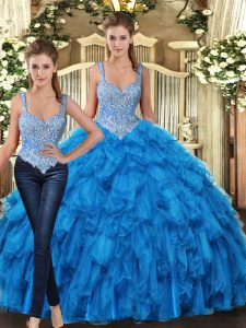 Floor Length Teal Quinceanera Dress Straps Sleeveless Lace Up