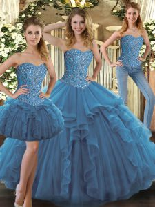 Sweetheart Sleeveless Lace Up Quinceanera Gown Teal Tulle