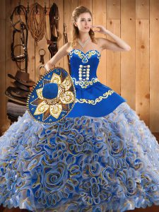 Affordable Multi-color Sweetheart Lace Up Embroidery Quince Ball Gowns Sweep Train Sleeveless