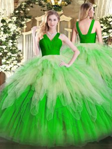 Best Multi-color Ball Gowns Ruffles Sweet 16 Dresses Zipper Organza Sleeveless Floor Length