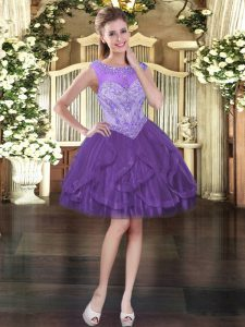 Purple Sleeveless Mini Length Beading and Ruffles Lace Up