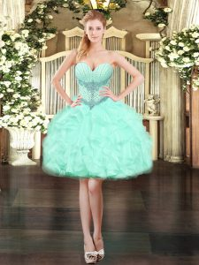 Romantic Apple Green Organza Lace Up Sleeveless Mini Length Beading and Ruffles