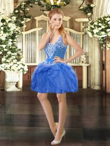 Custom Design Baby Blue Tulle Lace Up Straps Sleeveless Mini Length Prom Dress Beading and Ruffles