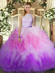 Graceful High-neck Sleeveless Sweet 16 Dresses Floor Length Ruffles Multi-color Tulle