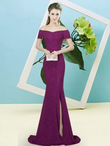 Free and Easy Purple Zipper Off The Shoulder Sequins Dress for Prom Sequined Short Sleeves Sweep Train