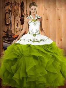 Olive Green Tulle Lace Up 15th Birthday Dress Sleeveless Floor Length Embroidery and Ruffles