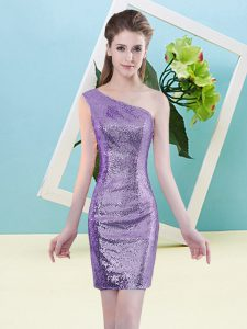 Exceptional Lavender Sequined Zipper Homecoming Dress Sleeveless Mini Length Sequins