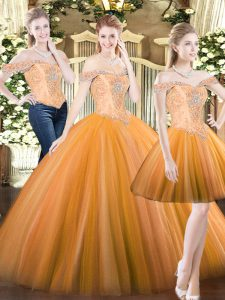 Orange Red Tulle Lace Up 15 Quinceanera Dress Sleeveless Floor Length Beading