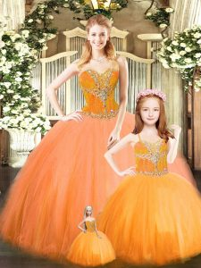 Deluxe Orange Red Ball Gowns Sweetheart Sleeveless Tulle Floor Length Lace Up Beading Quinceanera Gowns