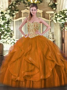 Rust Red Sweetheart Neckline Beading and Ruffles Quinceanera Dresses Sleeveless Lace Up
