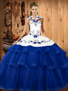 Sleeveless Organza Sweep Train Lace Up Vestidos de Quinceanera in Blue with Embroidery and Ruffled Layers